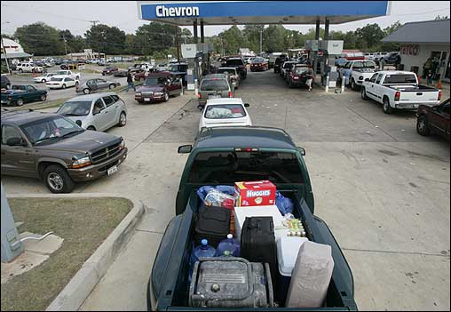 Long gas lines formed in Centerville, Texas. Gas has been in short supply as people evacuate.