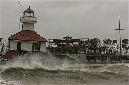 The lighthouse on the shore of Lake Pontchartrain, which was heavily damaged by Hurricane Katrina, was threatened by the rising tide in the Lakeview District of New Orleans.