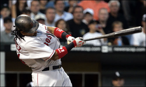 Manny Ramirez knocked a first-inning single off of White Sox pitcher Mark Buehrle that scored Edgar Renteria and Johnny Damon to give the Red Sox a 2-0 lead.