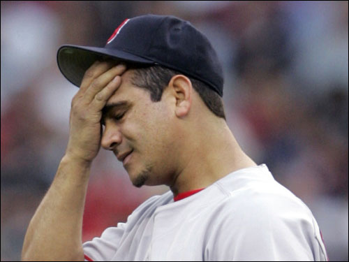 Keith Foulke, Alan Embree, Matt Mantei, and Mike Remlinger all struggled in the Red Sox bullpen. Midseason pickup Chad Bradford and Jeremi Gonzalez (pictured) were up and down. Late-season acquisition Chad Harville was little help.