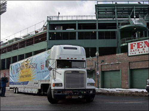 The Red Sox equipment truck left from Fenway Park in Boston today, bound for the team's spring training facility in Fort Myers, Fla.