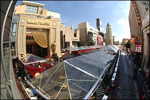 A fish-eye lens captures Hollywood Boulevard and the Kodak Theatre during preparations for the 78th Academy Awards in Hollywood, California March 2, 2006. The Oscars will be presented Sunday at 8 p.m.
