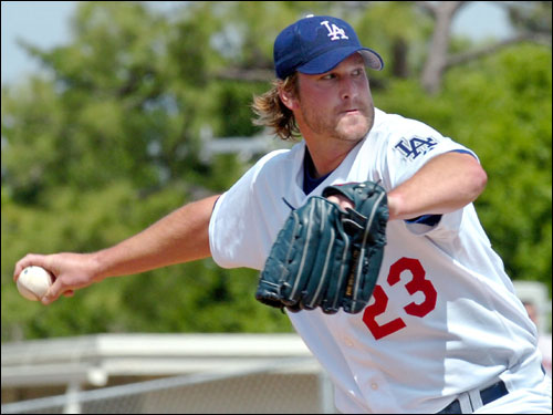 Los Angeles Dodgers pitcher Derek Lowe worked in the first inning against the Red Sox Thursday in Vero Beach, Fla. The Dodgers won the spring training game 6-4.