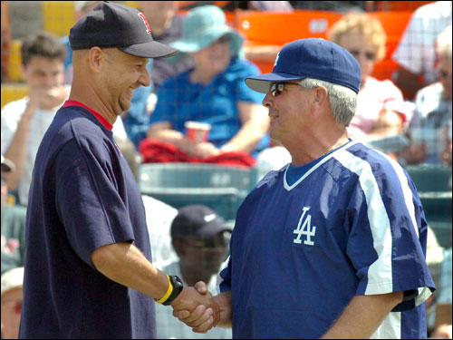 Red Sox manager Terry Francona (left) greeted and joked around with Los Angeles Dodgers manager Grady Little before the start of Thursday's game between the two teams. Francona was Little's replacement after he was dismissed by the Red Sox.
