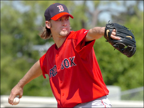 Red Sox pitcher Bronson Arroyo worked in the first inning against the Dodgers.