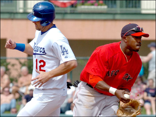 The Dodgers' Jeff Kent slowed down after being forced out at second base by Red Sox second baseman Willie Harris in the second inning.