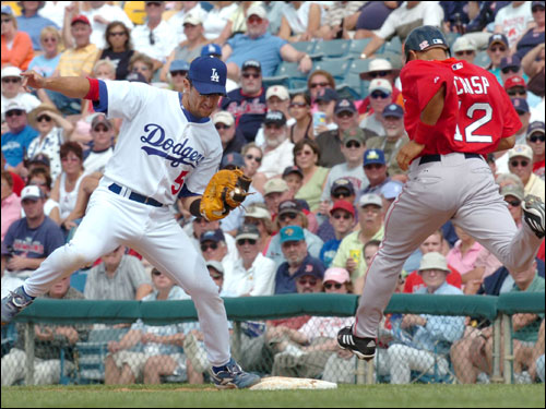 Dodgers first baseman Nomar Garciaparra (left) beats Red Sox base runner Coco Crisp to first base to get the out.