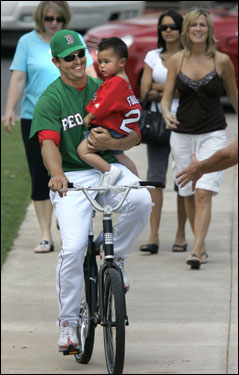 Keith Foulke took his 28-month-old son Kade for a bike ride prior to the game between the Red Sox and Marlins in Fort Myers.