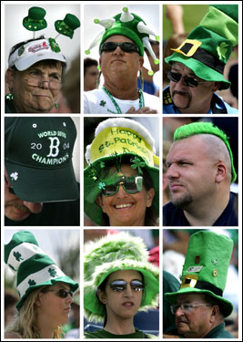 Red Sox fans celebrated by the wearing of the green on St. Patrick's Day in a variety of wacky hats, accessories and hair.