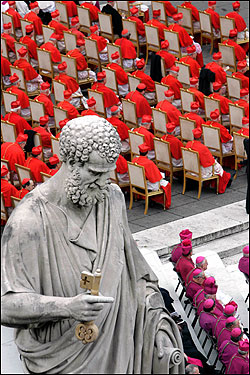 William Levada, formerly the archbishop of San Francisco and Portland, Ore., delivered introductory remarks to the pope on behalf of all the new cardinals, saying they gave Benedict their unconditional loyalty, 'free of concern for ourselves and our own lives, as this scarlet (robe) unceasingly reminds and warns us.'