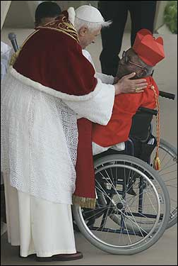 Peter Poreku Dery, archbishop emeritus of Tamale, Ghana, was congratulated by Pope Benedict XVI after being elevated to cardinal at St. Peter's Square.