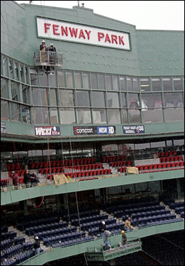 For the Red Sox' home opener, April 11, the Red Sox will unveil the fifth in a series of annual improvements to the 94-year-old ballpark. The biggest change is the open seating areas shown with red and blue seats, which were previously behind glass in the .406 Club.