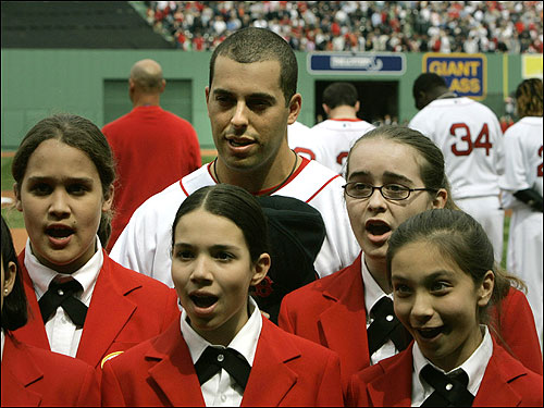 Sox outfielder Adam Stern sang the Canadian National Anthem with school girls from the Boston's Children's Chorus before the game. Stern, a Canadian citizen, played for Canada in this spring's World Baseball Classic.