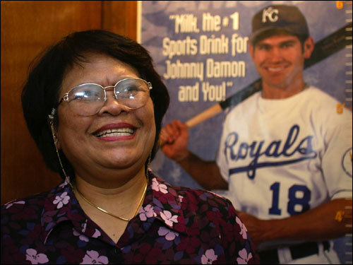 Jan. 29, 2002 Yome Damon laughed while talking about her son Johnny from the family home in Orlando, Fla.