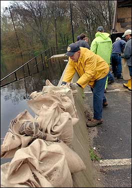 sandbags along a river