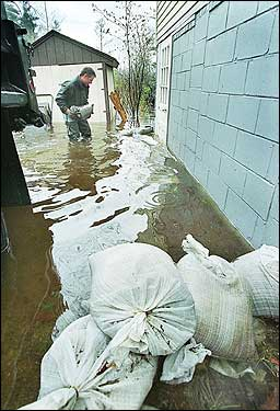 sandbags around a basement door