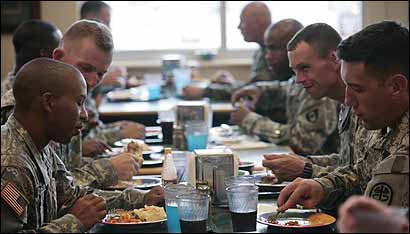 Soldiers in one of three dining halls at Fort Sam Houston in San Antonio, where offices are getting utility disconnection notices.