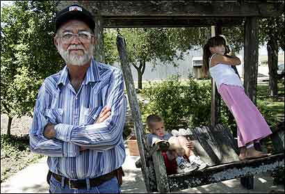 Leroy Walters owns a 120-year-old farm near Hillsboro, Texas. His grandchildren, 5-year-old Tristen Walters and 9-year-old Laura Walters, might not inherit the farm if a road and rail system go through it.