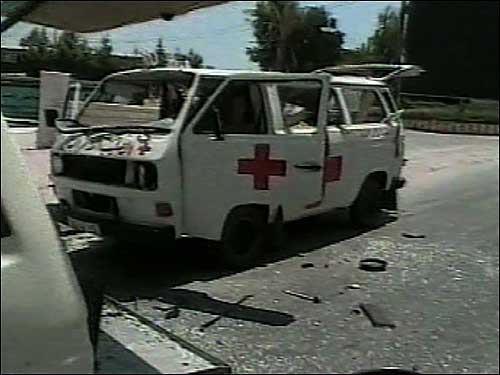 Lebanese ambulance destroyed in airstrike