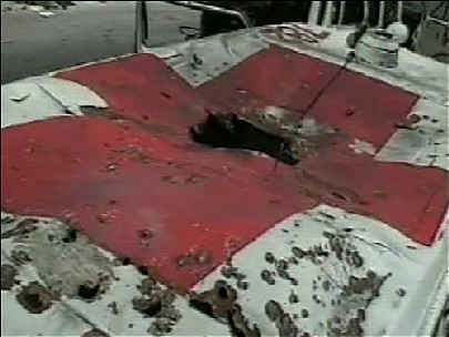 Lebanese Red Cross ambulance destroyed