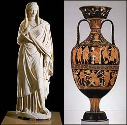 At left, a marble statue of Sabina sold to the Museum of Fine Arts by a Swiss dealer in 1979. Above, a vase from the Apulian region.