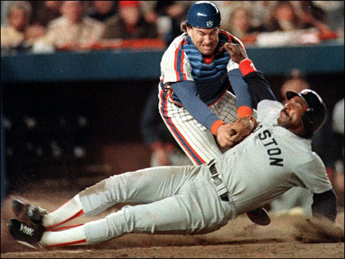 Jim Rice was taggged out at the plate by Mets catcher Gary Carter during seventh-inning action.