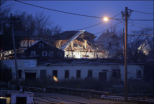 Several buildings in the Water Street area were damaged.
