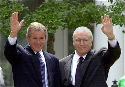 POWER COUPLE: Candidates George W. Bush and Dick Cheney at the governor's mansion in Austin, Texas in July 2000.