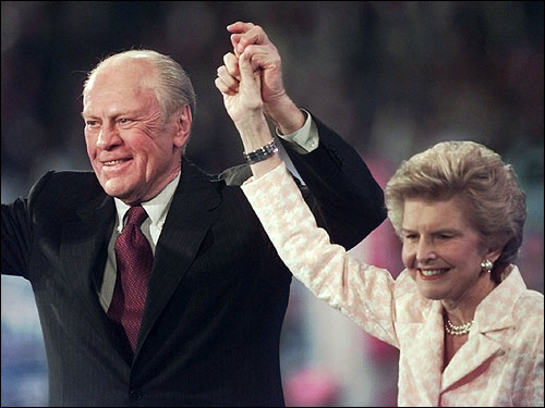 Ford and his wife Betty received applause from the convention floor during the evening session of the 1996 Republican National Convention in San Diego.