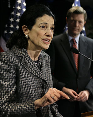 Olympia Snowe, how much does she stand by her party's man when the country is (still) turning against him? Olympia J. Snowe of Maine introduced bipartisan legislation for the United States to freeze carbon dioxide emissions in 2010 and eventually reduce emissions to 65 percent below the 2000 levels. (Merlin caption: Sen. Olympia Snowe, left, joined by husband John McKernan, right, speaks to supporters Tuesday, Nov. 7, 2006, in Portland, Maine.)