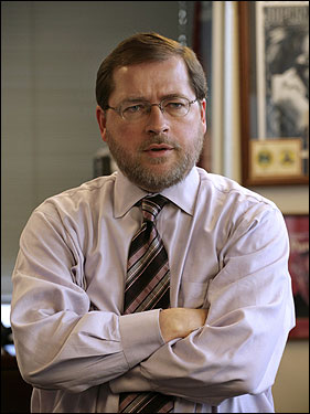 Grover Norquist, he built this city on direct mail and issue funding, will it all come crashing down on him? (Merlin caption: Conservative activist Grover Norquist, President of the Americans for Tax Reform, stands in his office in Washington Thursday, Jan. 26, 2006. Republican activists Grover Norquist and Ralph Reed landed more than 100 meetings inside the Bush White House, according to documents released Wednesday Sept. 20, 2006 that provide the first official accounting of the access and influence the two presidential allies have enjoyed.)