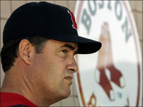 Red Sox pitching coach John Farrell waited to talk to reporters Thursday.
