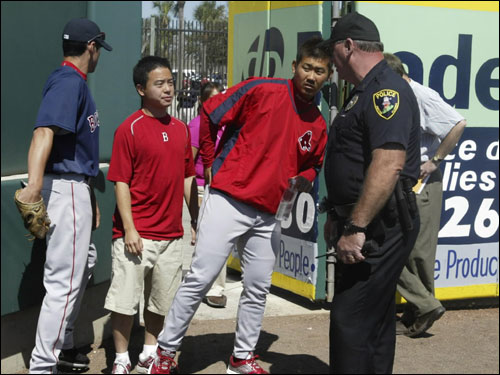Daisuke Matsuzaka walked onto the baseball field after arriving at Roger Dean Stadium.