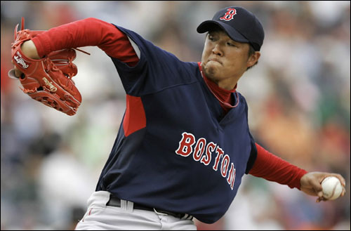 Red Sox pitcher Hideki Okajima threw against the Detroit Tigers in the fifth inning Saturday in Lakeland, Fla.