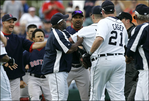 Red Sox manager Terry Francona (left) yelled as Detroit Tigers hitting coach Lloyd McClendon (second from left) held back Tigers pitcher Todd Jones as he argueed with Red Sox third base coach DeMarlo Hale during a bench clearing in the fifth inning Saturday.