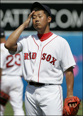 Matsuzaka reacted after giving up a solo home run to Baltimore Orioles' Jon Knott, a non-roster player.