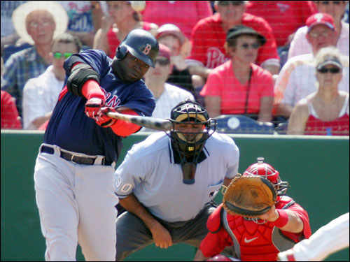 David Ortiz hit a fifth-inning home run against the Philadelphia Phillies on Friday in Clearwater, Fla.