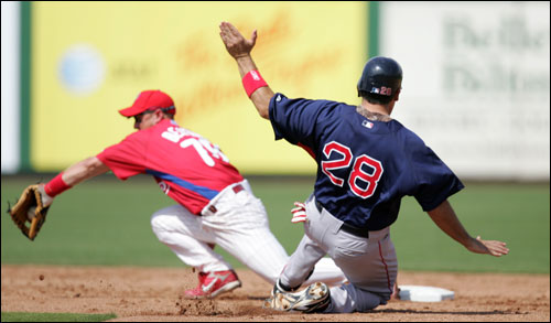 Doug Mirabelli (No. 28) stole second base for the Red Sox in the the third inning as Philadelphia Phillies second baseman Andrew Beattie fielded a wide throw on Friday.