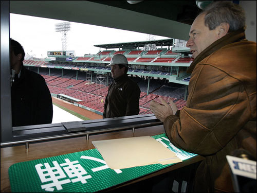 Larry Lucchino looked out from a window of a new private suite at Fenway Park.