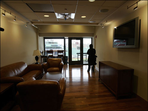 A new private suite is seen at Fenway Park under renovation in Boston Wednesday.
