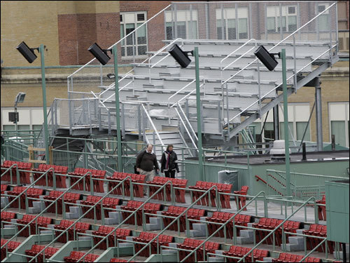 'Conigliaro's Corner,' a new bleacher section, is seen in the right field roof deck of Fenway Park. The section will have 220 seats on temporary metal bleachers that sell for $25 apiece.