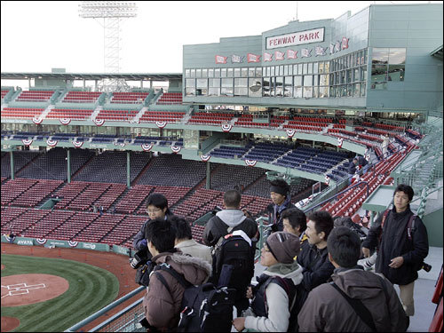 Members of the Japanese media toured Fenway on Monday.