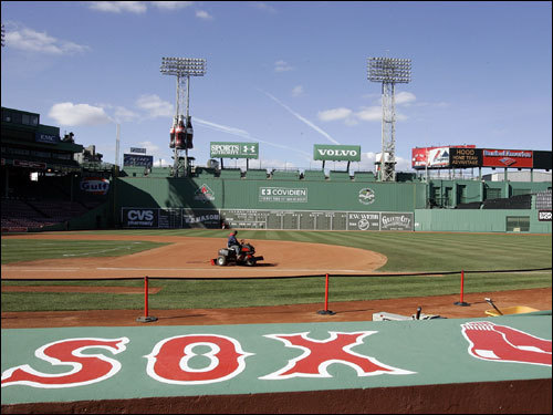 The sky was clear over Fenway on Monday while park preparations were underway