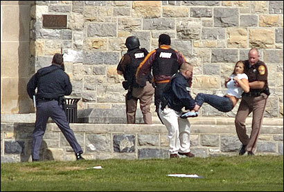 An injured student was removed from Norris Hall at Virginia Tech.