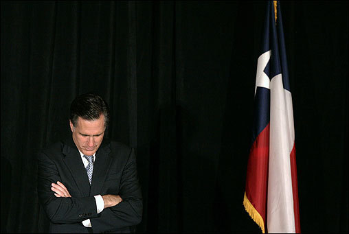 Romney bowed his head as a prayer was said at the beginning of the Reagan Day Dinner Gala where he was the keynote speaker in Dallas on April 11.