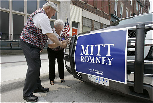 John and Jean Heick of Elkader, Iowa, decorated their truck while waiting for Romney to arrive at The Dancing Lion ballroom on June 15 in Oelwein, Iowa.