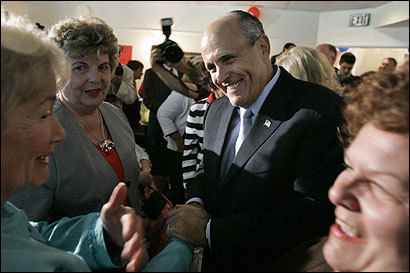 GOP presidential hopeful Rudy Giuliani greeted supporters at a rally in Wilmington, Del., two weeks ago. Campaign analysts say his repeated references to Sept. 11 can make or break him.