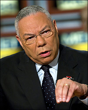 Colin Powell, Former Secretary of State Powell told a Colorado audience on July 8 that he spent 2 1/2 hours trying to talk Bush out of invading Iraq. 'I took him through the consequences of going into an Arab country and becoming the occupiers.' Powell said the civil war cannot be ''put down or solved'' by US forces.