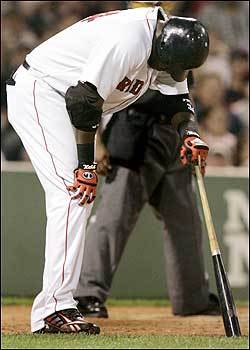 Ortiz leans on his bat as he clutches his already troubled right knee after getting hit by a foul ball. Manager Terry Francona told the media before the game that as far as he knows Ortiz has not undergone an MRI on his right knee. However, Francona did acknowledge that at times Big Papi's leg bothers the slugger.