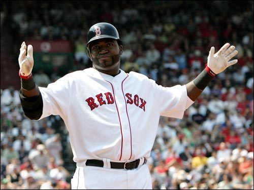 David Ortiz reacts after grounding into an inning-ending double play in the third inning.
